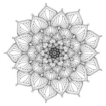 Round flower mandala for tattoo, henna. vintage decorative elements.