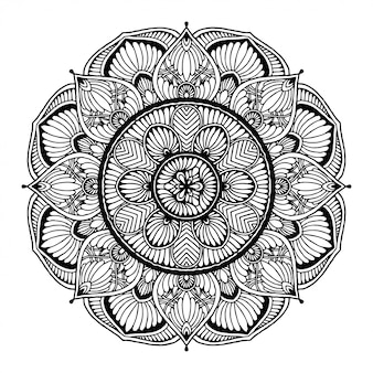 Round flower mandala for tattoo, henna. vintage decorative elements.