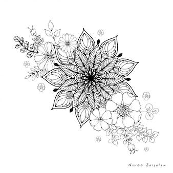 Круглый цветок старинные декоративные элементы.