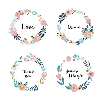 Round flower wreath set with cute flowers and leaves.