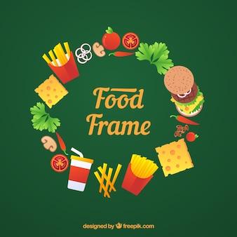 Round food frame background