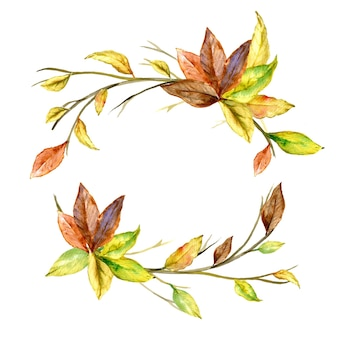Round frame autumn leaves watercolor
