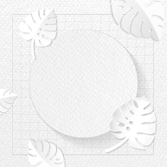 Round frame on gray monstera patterned background