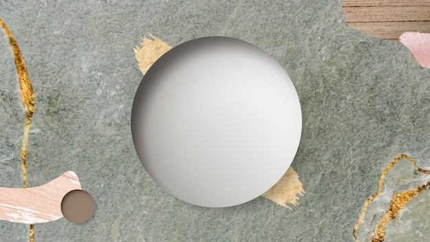 Round frame on green marble background