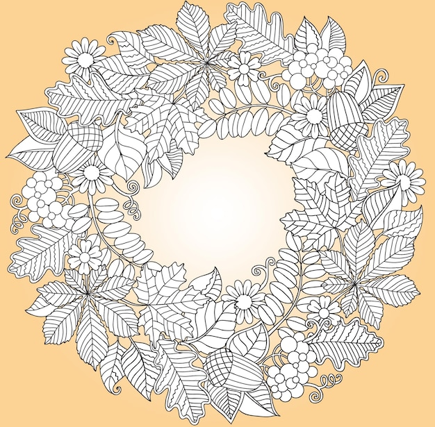 Round frame of leaves of different trees. coloring book page for adults