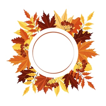 A round frame made of autumn leaves an empty space for the text postcard a design element