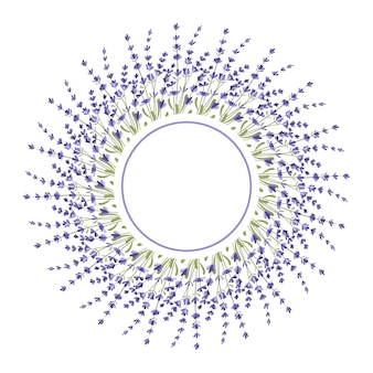 Round frame made of lavender twigs an empty space for the text postcard a design element