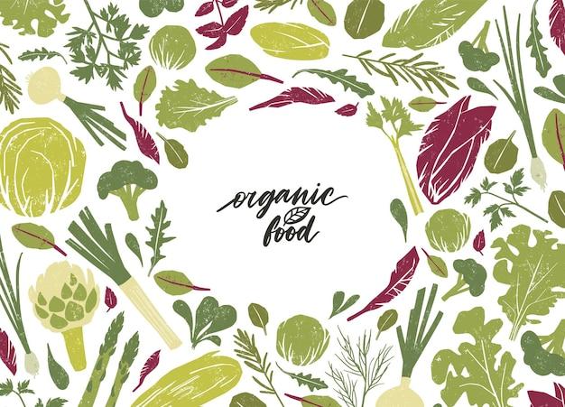 白地に緑の野菜、サラダの葉、スパイスハーブで作られた丸いフレーム