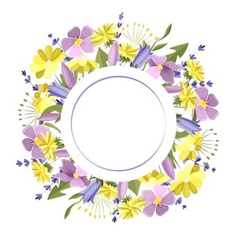 초원 꽃으로 만든 둥근 프레임 텍스트 엽서 디자인 요소의 빈 공간