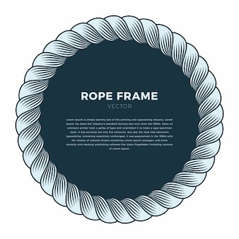 Round frame made of rope with a knot. hand drawn vector background