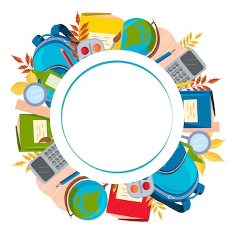 Round frame made of school supplies an empty space for the text postcard a design element