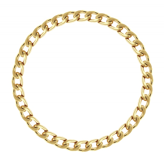 Round frame made with golden chain. premium