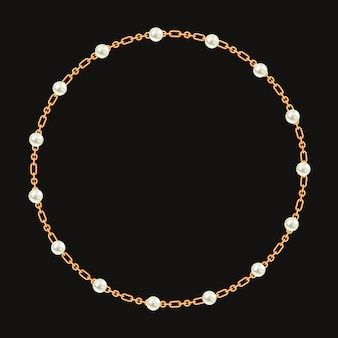Round frame made with golden chain and white pearls.