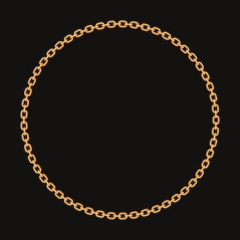 Round frame made with golden chain.