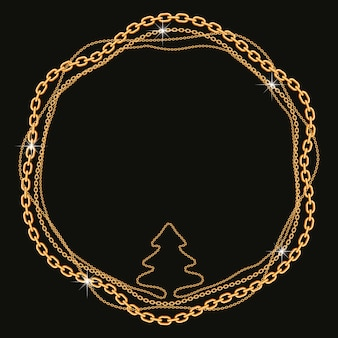 Round frame made with twisted golden chains with tree shape