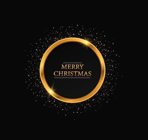 Round  frame, merry christmas greeting card