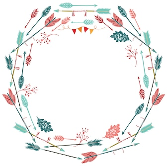 Round frame of arrows and leaves