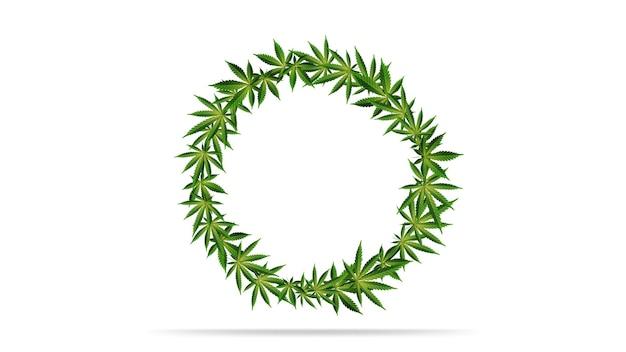 녹색 대마초 잎의 둥근 프레임입니다.
