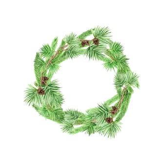 소나무 가지와 콘, 크리스마스 수채화 그림의 라운드 프레임