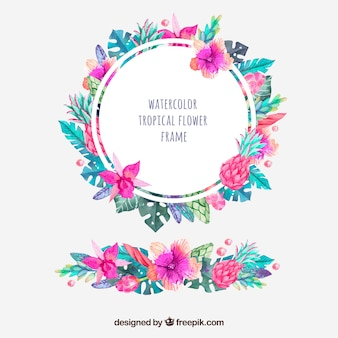 Round frame of tropical watercolor flowers and ornament