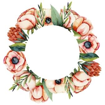 수채화 산호 말미잘과 프로 테아 꽃의 라운드 프레임