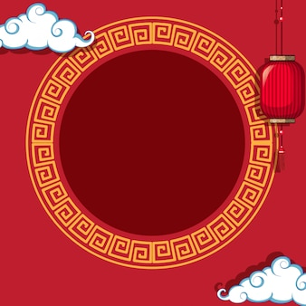 Круглая рамка на фоне китайского узора