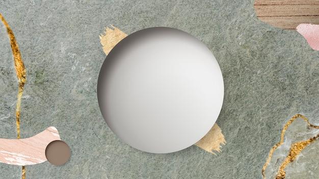 緑の大理石の背景に丸いフレーム