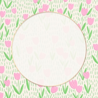 Круглая рамка на фоне поля тюльпанов