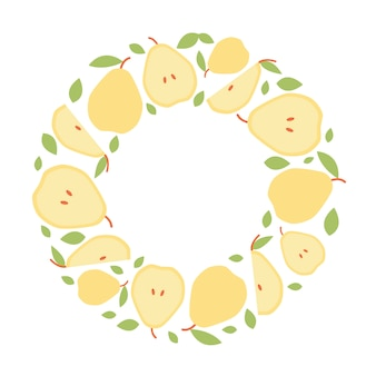 Round frame of pear for social media in flat style.