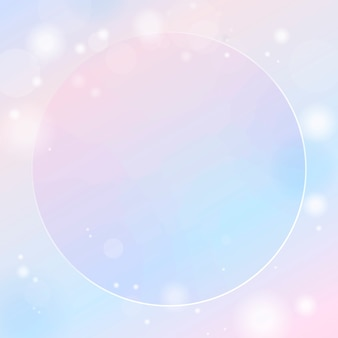 Cornice rotonda su sfumatura rosa e blu con sfondo chiaro bokeh