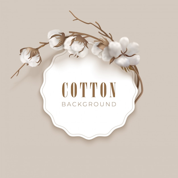 Round frame and place for text with cotton on a light background. white cotton buds and brown branch. vector illustration