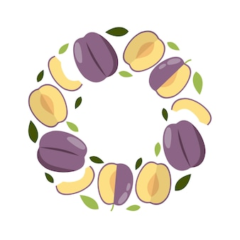 Round frame plum in flat style for print, social media, card.