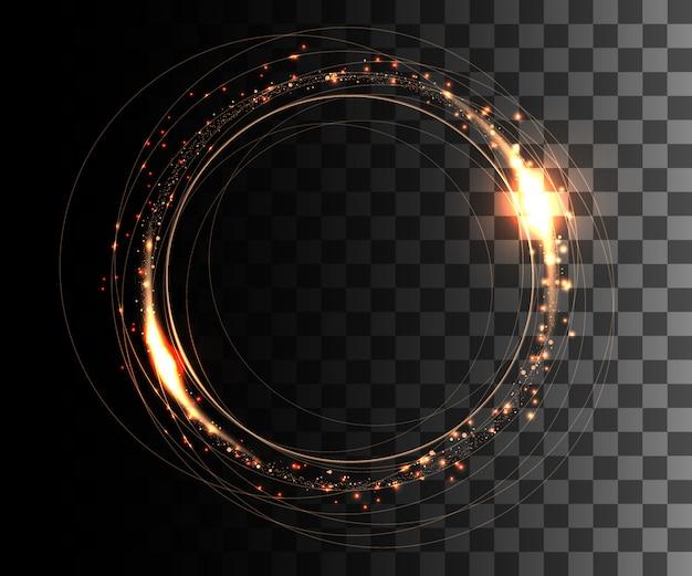 ラウンドフレーム。輝くサークルバナー。輝く火花とオレンジ色の円の効果。透明な背景のイラスト。ウェブサイトページとモバイルアプリ