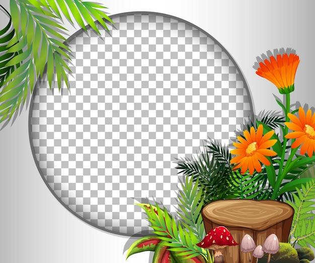オレンジ色の花と葉のテンプレートで透明な丸いフレーム