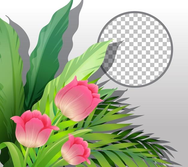 Круглая рамка прозрачная с розовым цветком и листьями шаблон