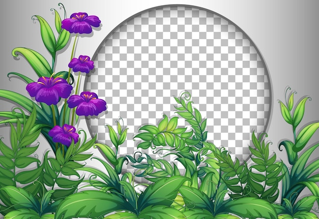 紫色の花と葉のテンプレートで透明な丸いフレーム