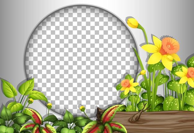 열대 꽃과 잎 템플릿으로 투명한 원형 프레임