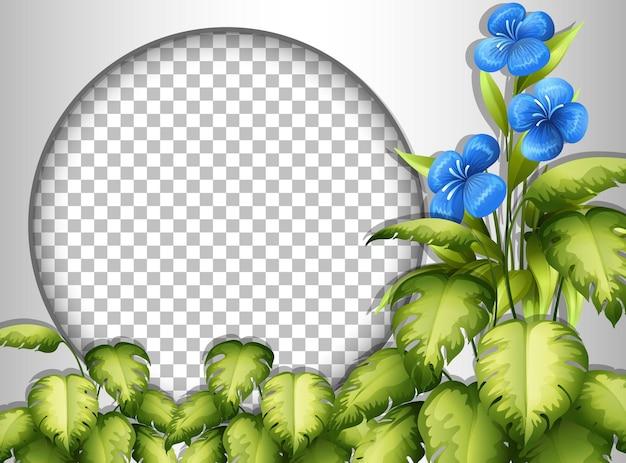 熱帯の花と葉のテンプレートで透明な丸いフレーム