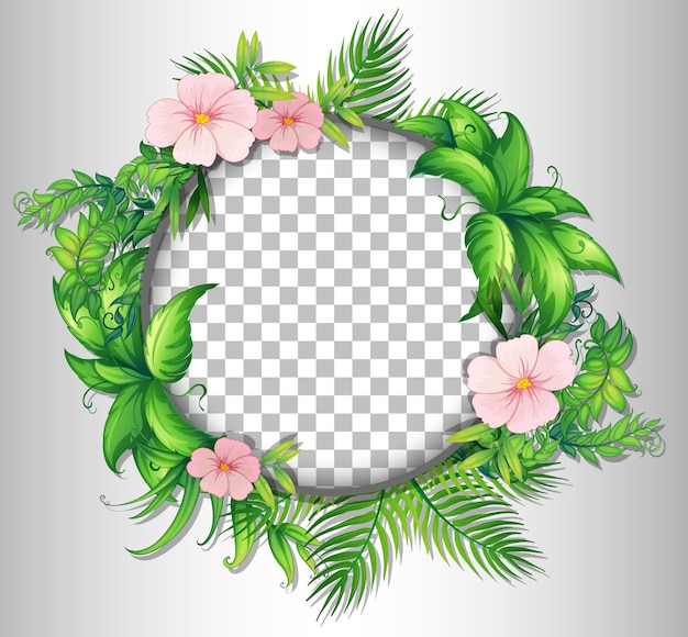 Round frame transparent with tropical flowers and leaves template