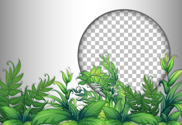 Round frame transparent with tropical leaves template