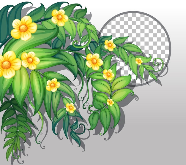 Round frame transparent with yellow flowers and leaves template