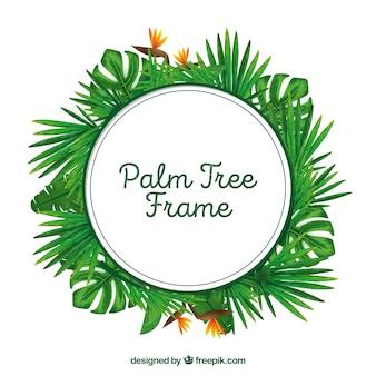 Telaio rotondo di foglie di palma da acquerello
