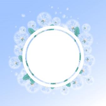 夏の白いタンポポと綿毛の背景を持つ円形フレーム。写真やテキストのテンプレートです。