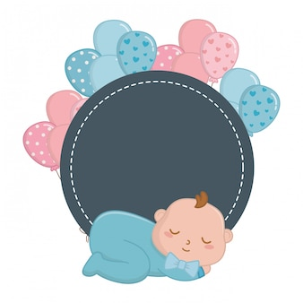 Round frame with baby sleeping illustration