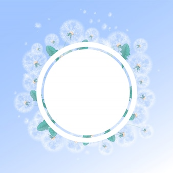 Round frame with a background of summer white dandelions and fluffs. template for photo or text.