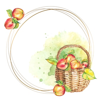 Round frame with basket of apples.