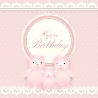 Round frame with bear family happy birthday card