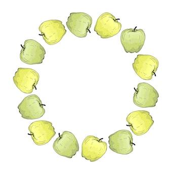 明るい緑と黄色のリンゴと丸いフレーム。手描きイラスト。