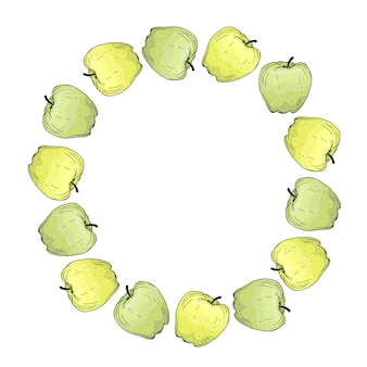 Round frame with bright green and yellow apples.  hand drawn illustration.