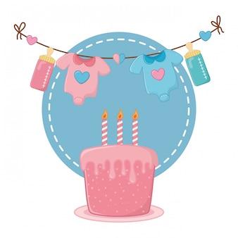 Round frame with cake illustration